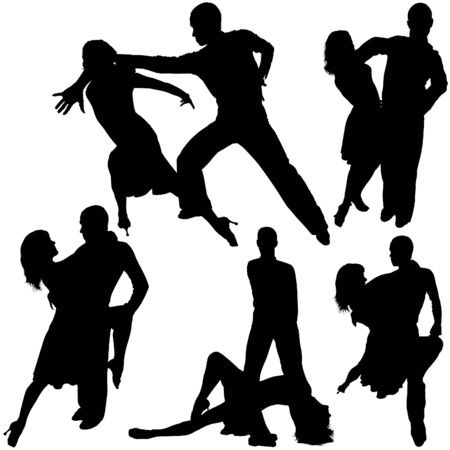 spanish dancer: Latino Dance Silhouettes 14 - detailed illustrations as vector