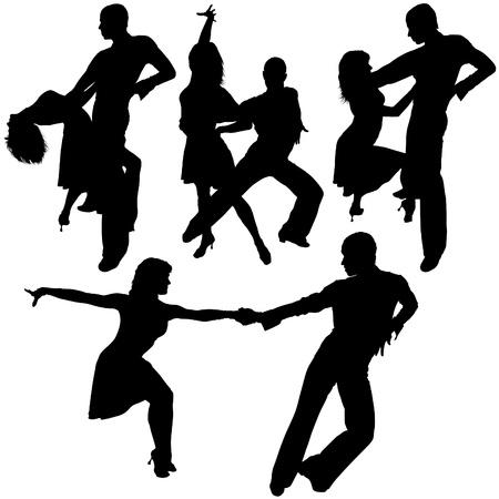 Siluetas de baile latino 15 - detalladas ilustraciones como vector Foto de archivo - 4603540