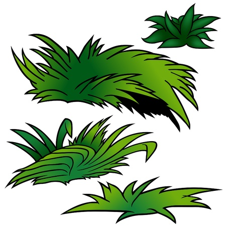 sward: Grass Set D - colored cartoon illustration as vector Illustration
