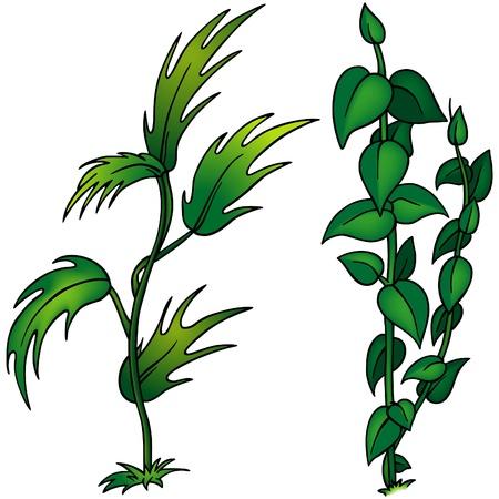 sward: Grass Imposta G - cartoon colorati come illustrazione vettoriale Vettoriali