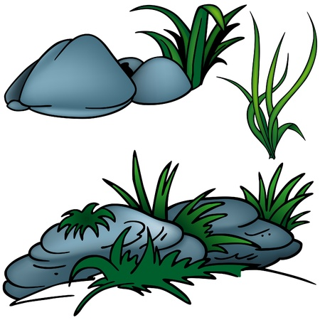 rock stone: Grass Set H - colored cartoon illustration as vector