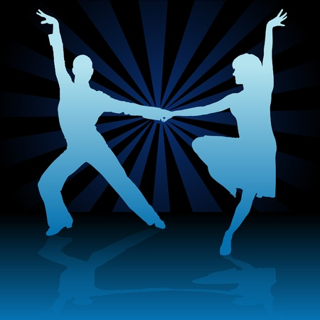 spanish dancer: Blue Latino Dance - detailed colored illustration as vector Illustration