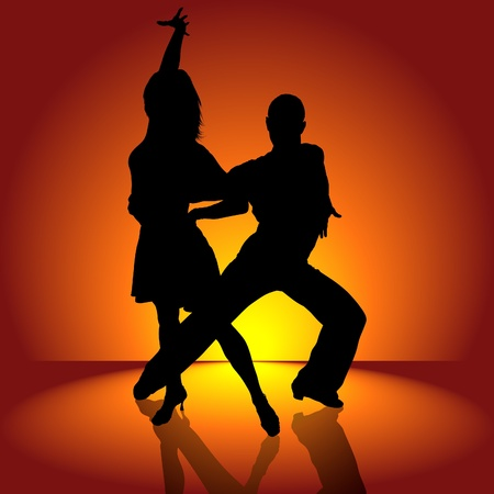 modern dancers: Burning Latino Dance - detailed colored illustration as vector