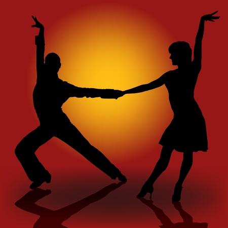 bailarines silueta: Bailarines latinos - ilustraci�n detallada de color como vector