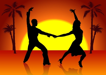 Spain Dancers - detailed colored illustration Stock Illustratie