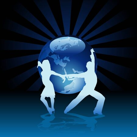 World Latino Dance - detailed colored illustration as vector