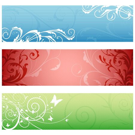 Floral Banners 01 - popular multi-colored vector illustration Vector