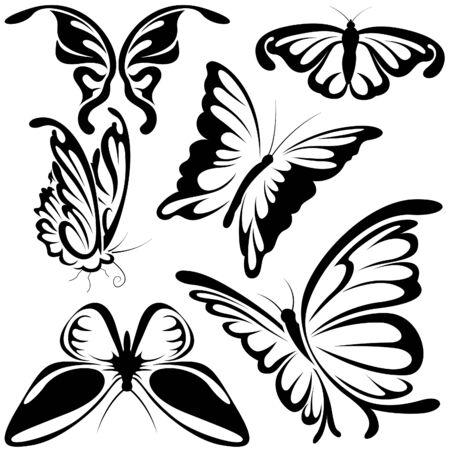 Abstract Butterflies - black illustration symbols as vector