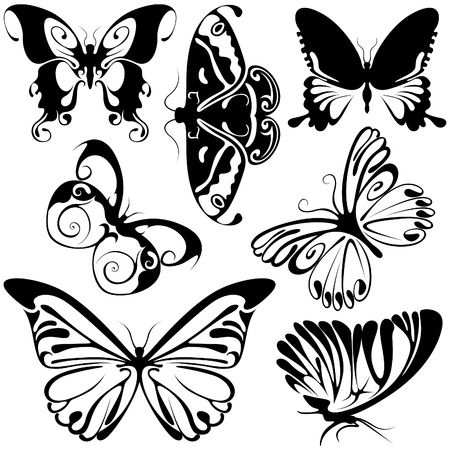 Abstract Butterflies 2 - black illustration symbols as vector Vector