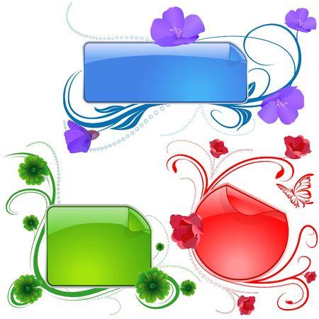 Floral Banery 05 - banery w popularnych kolorowych ilustracji wektorowych Ilustracje wektorowe