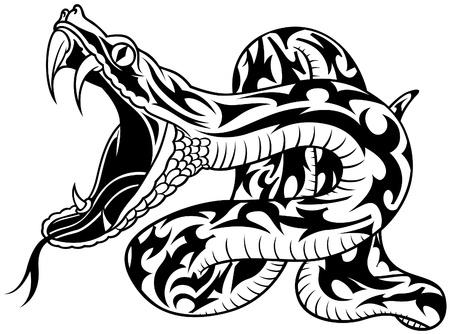 Natter: Snake Tattoo 02 - schwarz Darstellung als Vektor Bild Illustration
