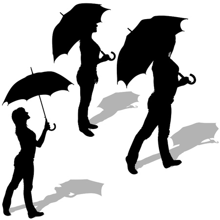 Girl And Umbrella 04 - detailed sillhouettes as vector