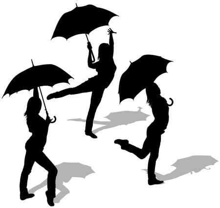 Girl And Umbrella 05 - detailed sillhouettes as vector Vector