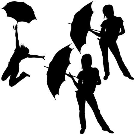 Girl And Umbrella 06 - detailed sillhouettes as vector Vector