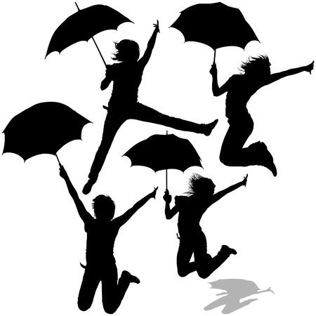 Girl And Umbrella 07 - detailed sillhouettes as vector Vector