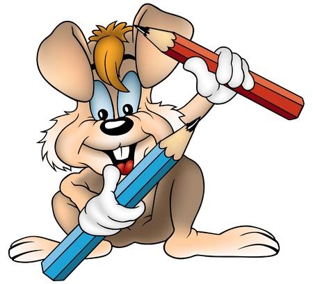 cartoons: Kaninchen und 2 Wachsmalstiften - farbige Cartoon Illustration als Vektor