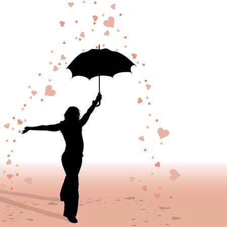 umbrella rain: Girl and Umbrella - Hearts Rain - silhouette as valentine illustrations, vector Illustration