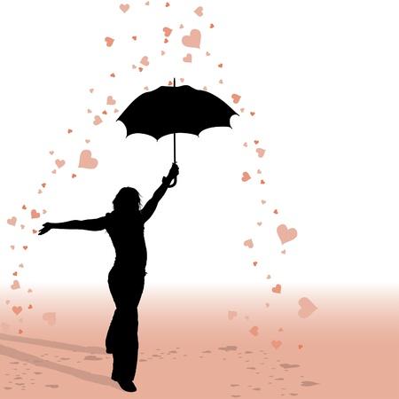 Girl and Umbrella - Hearts Rain - silhouette as valentine illustrations, vector Illustration