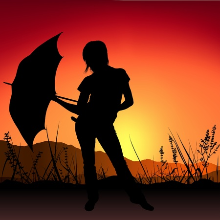 Girl and Umbrella - Sunset - detailed silhouette as romantic illustration, vector Vector
