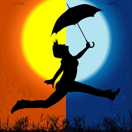 Girl with Umbrella - Day and Night - detailed silhouette as illustration, vector Vector