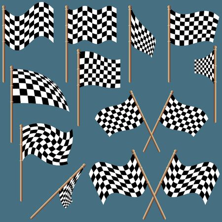 grand prix: Checkered Flags 1 - colored illustration as vector