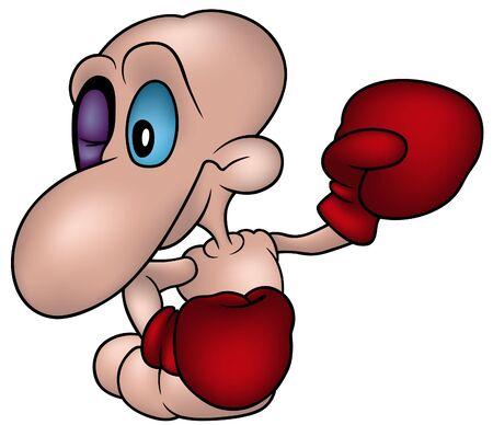 gusano caricatura: Poco Worm Boxeador - color de dibujos animados como ilustraci�n vectorial Vectores
