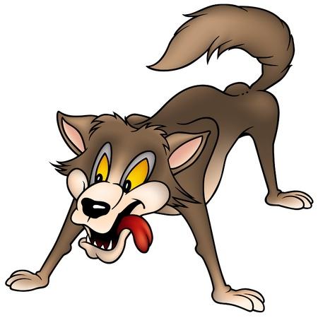lobo feroz: Wolf - color de dibujos animados como ilustraci�n vectorial Vectores