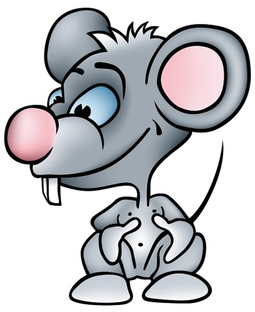 Little Mouse - colored cartoon illustration as vector