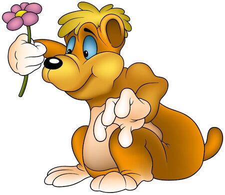 gratulation: Bear with Flower - colored cartoon illustration as vector Illustration