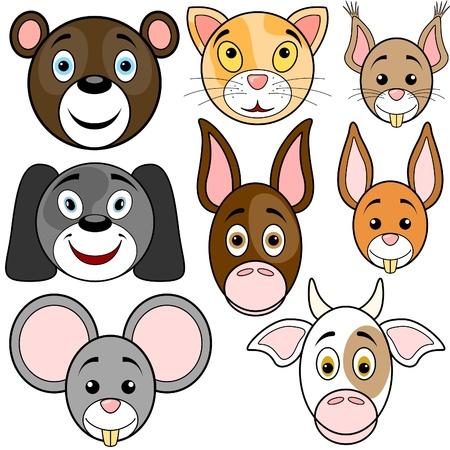 Animals Baby Set 1 - smiling cartoon illustrations as vector Vector