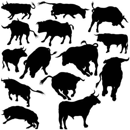 Bull Set Silhouettes 2 - black hand drawn illustration as vector Illustration