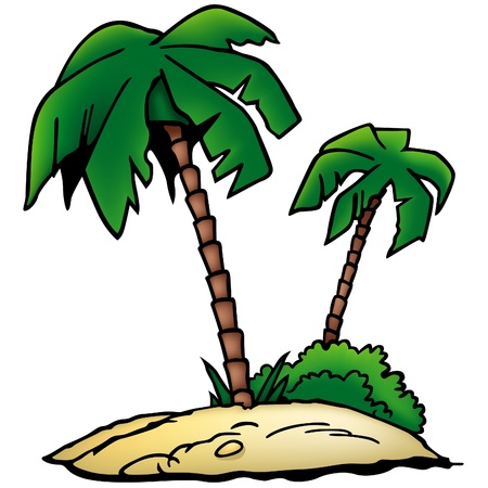 island clipart: Palms Beach - colored cartoon illustration as vector