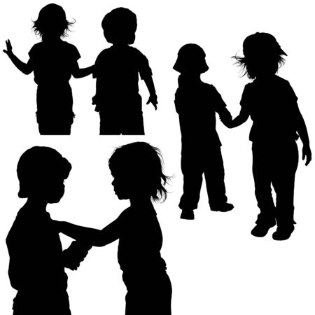 infancy: Childrens Games 06 - detailed silhouettes as illustrations, vector
