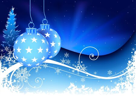 Blue Christmas and snowy floral - christmas illustration and vector Vector