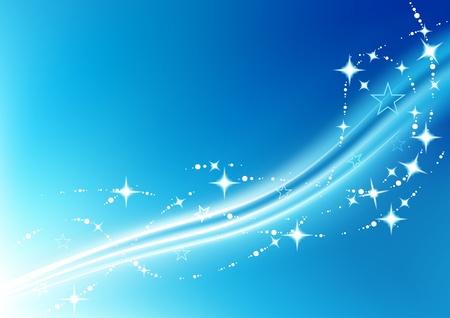 블루 크리스마스와 별 나선 - 크리스마스 그림
