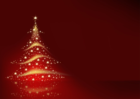 christmas backgrounds: Christmas Tree formed from Stars - red christmas background Illustration