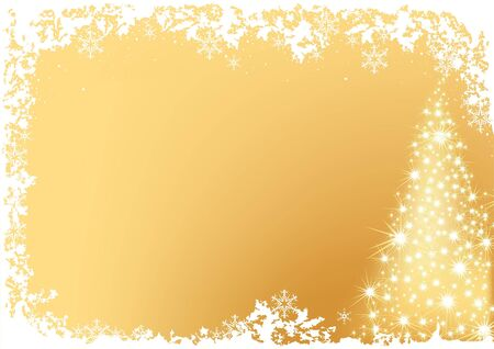 Golden Abstract Christmas Tree - christmas background illustration Vector