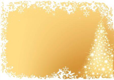 Golden Résumé Arbre de Noël - illustration christmas background