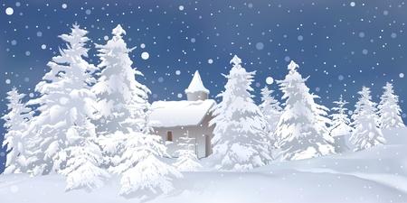 snowy background: Ilustraci�n de fondo de Navidad - cubierto de nieve en blanco