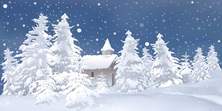 snowcapped mountain: White Christmas - snowy background illustration Illustration