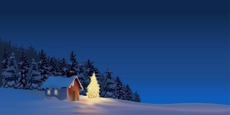 coniferous forest: Gran Navidad - ilustración de fondo de vacaciones