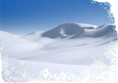 snowy: Snowy Mountain - christmas background illustration and vector