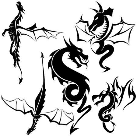 dragon tribal: Tattoo Dragons 04 - illustration tribal noir Illustration