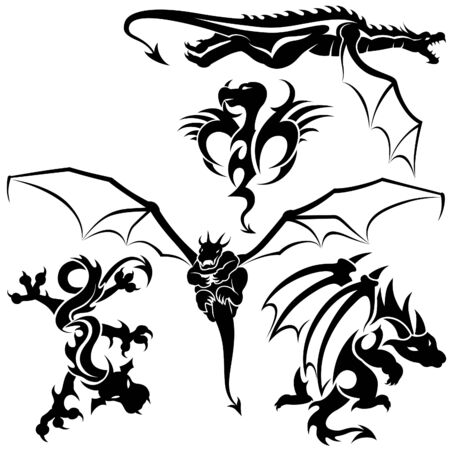 Tattoo Dragons 05 - black tribal illustration as vector Vector