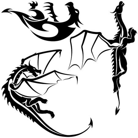Tattoo Dragons 06 - black tribal illustration as vector Vector