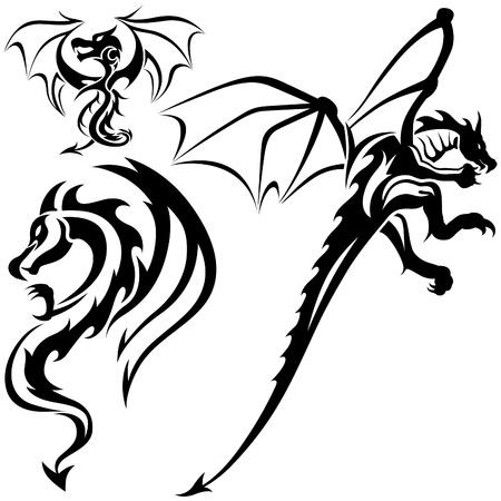 dragones: Tattoo Dragons 07 - ilustraci�n tribal negro como vector de Vectores