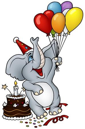 balloon drawing: Elephant Happy Birthday Illustration