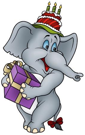Elephant and Gift - Happy Birthday Vector