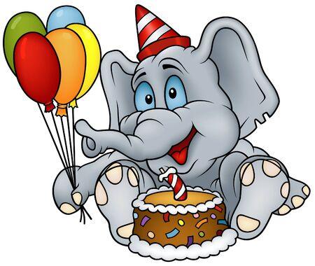 gateau: Elefante felice compleanno - dettagliata illustrazione colorata Vettoriali
