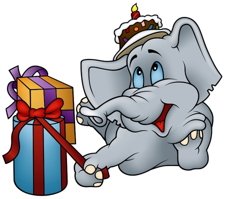 gateau: Elefante e regali - buon compleanno